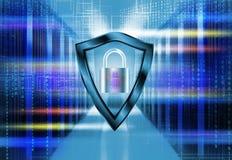 Sitio del servidor en datos con un código binario que penetra Concepto de la seguridad de la seguridad de la protección con el es libre illustration