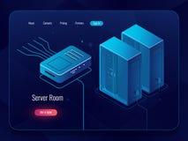 Sitio del servidor, icono del datacenter y de la base de datos, establecimiento de una red y comunicaciones isométricos de Intern stock de ilustración