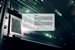 Sitio del servidor, petici?n del inicio de sesi?n y de la contrase?a, acceso a datos y seguridad stock de ilustración