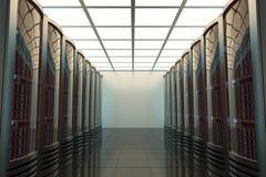 Sitio del servidor, telecomunicaciones, protección de datos, 3d Foto de archivo