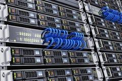 Sitio del servidor y cable de la red stock de ilustración