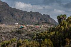 Sitio del sitio para acampar de Barranco, Kilimanjaro fotos de archivo
