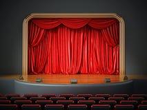 Sitio del teatro con asientos rojos ilustración 3D ilustración del vector