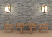 Sitio dinning moderno con el interior de la lámpara en la representación 3D Fotos de archivo libres de regalías