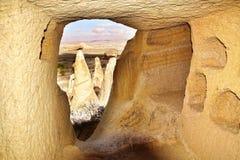 Sitio en ciudad de la cueva en Cappadocia, Turquía Foto de archivo libre de regalías