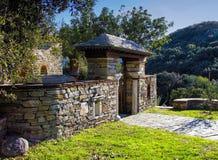 Sitio en el monasterio de Stavronikita en Mt Athos Fotografía de archivo libre de regalías