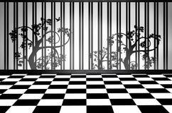 Sitio interior blanco y negro Foto de archivo