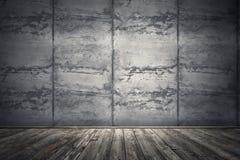 Sitio interior con el muro de cemento sucio y el piso de madera 3d arrancan Imagenes de archivo
