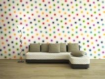 Sitio interior con el sofá Foto de archivo libre de regalías