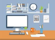 Sitio interior de la oficina. Estilo plano del diseño Imagenes de archivo