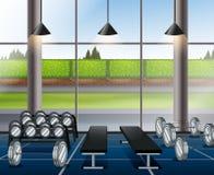 Sitio interior del levantamiento de pesas con los bancos ilustración del vector