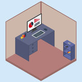 Sitio isométrico del ejemplo del vector con un ordenador Stock de ilustración