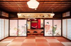 Sitio japonés del té del vintage con la pintura de pared y el de tradicional Imágenes de archivo libres de regalías