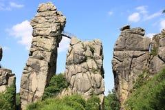 Sitio místico en Westfalia, Externsteine, Alemania Foto de archivo