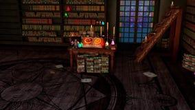 Sitio místico o sitio del estudio del alquimista con las velas, libros, botellas y símbolos alquímicos, con vista de pájaro libre illustration