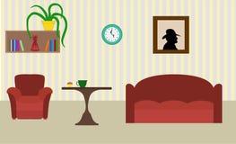 Sitio moderno con la silla, el sofá y la tabla, imagen, estante de libros y libre illustration