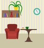 Sitio moderno con la silla y tabla, estante de libros y planta St plano stock de ilustración