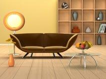 Sitio moderno con un sofá Imágenes de archivo libres de regalías