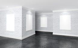Sitio moderno de la galería con los carteles en las paredes ilustración del vector