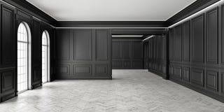 sitio negro vacío del estilo clásico 3D con el entarimado y pannels clásicos de la pared, ventana grande e iluminación del interi Imágenes de archivo libres de regalías