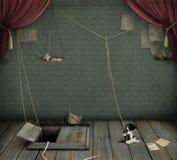 Sitio oscuro con el sótano, el gatito y la rata. Imagen de archivo libre de regalías