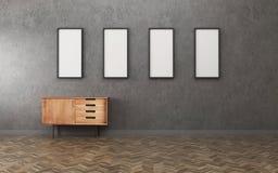 Sitio oscuro con la imagen blanca del gabinete y del marco cuatro Dise?o interior del vintage libre illustration