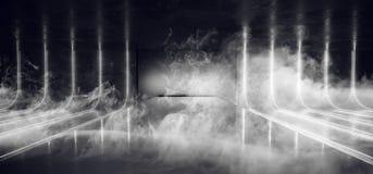 Sitio oscuro de la niebla del humo de la nave de Sci Fi de la danza de la luz del sitio de la galería de Hall With Neon Glowing W stock de ilustración