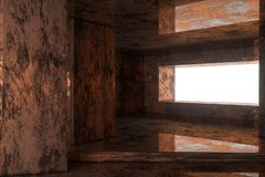 Sitio oxidado vacío con la luz que viene adentro de la ventana, representación 3d stock de ilustración