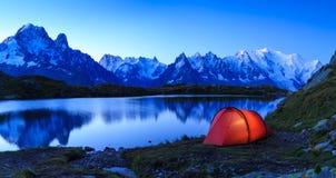 Sitio para acampar de Chamonix Imágenes de archivo libres de regalías