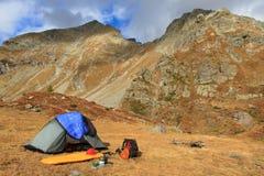 Sitio para acampar del otoño Imagen de archivo libre de regalías