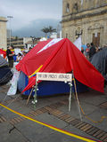 Sitio para acampar para la paz, en Bogotá, Colombia Foto de archivo libre de regalías