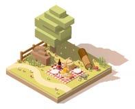 Sitio para acampar polivinílico bajo isométrico del vector libre illustration
