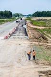 Sitio, piedras y grava de la construcción de carreteras Foto de archivo