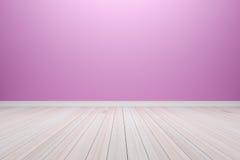 Sitio purpúreo claro interior vacío con el piso de madera, para la exhibición Fotografía de archivo libre de regalías