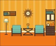 Sitio retro Interior en la línea arte Ejemplo linear del vector libre illustration