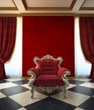 Sitio rojo de la butaca en estilo clásico Foto de archivo libre de regalías