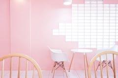 Sitio rosado con con la silla y la tabla Foto de archivo libre de regalías