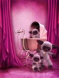 Sitio rosado con los juguetes de la felpa Foto de archivo libre de regalías