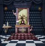 Sitio surrealista con objeto del país de las maravillas ilustración del vector
