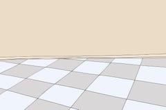 Sitio vacío con el piso a cuadros ilustración del vector