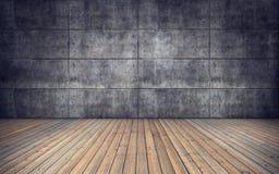 Sitio vacío con el piso de madera y la pared de las tejas concretas Imagenes de archivo
