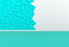 Sitio vacío con la pared blanca y azul y el piso de madera Imágenes de archivo libres de regalías