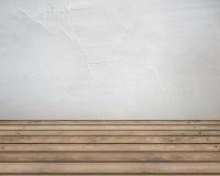 Sitio vacío con la pared y el piso de madera Imágenes de archivo libres de regalías