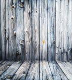 Sitio vacío con la pared y el piso de madera ligeros imagen de archivo libre de regalías