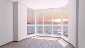 Sitio vacío con la ventana grande y la puesta del sol tranquila sobre el océano afuera Placa del fondo, fondo video dominante de  almacen de metraje de vídeo