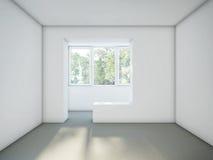 Sitio vacío con las paredes blancas y el piso gris del cemento Fotografía de archivo