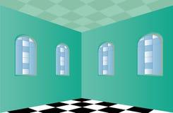 Sitio vacío con las paredes verdes ilustración del vector