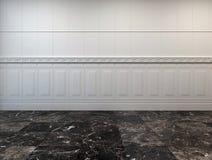Sitio vacío con un piso y un revestimiento de madera de mármol Foto de archivo libre de regalías