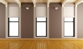 Sitio vacío de Brown con tres ventanas Imagen de archivo