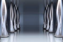 Sitio vacío interior futurista con el metal del abstact Fotografía de archivo